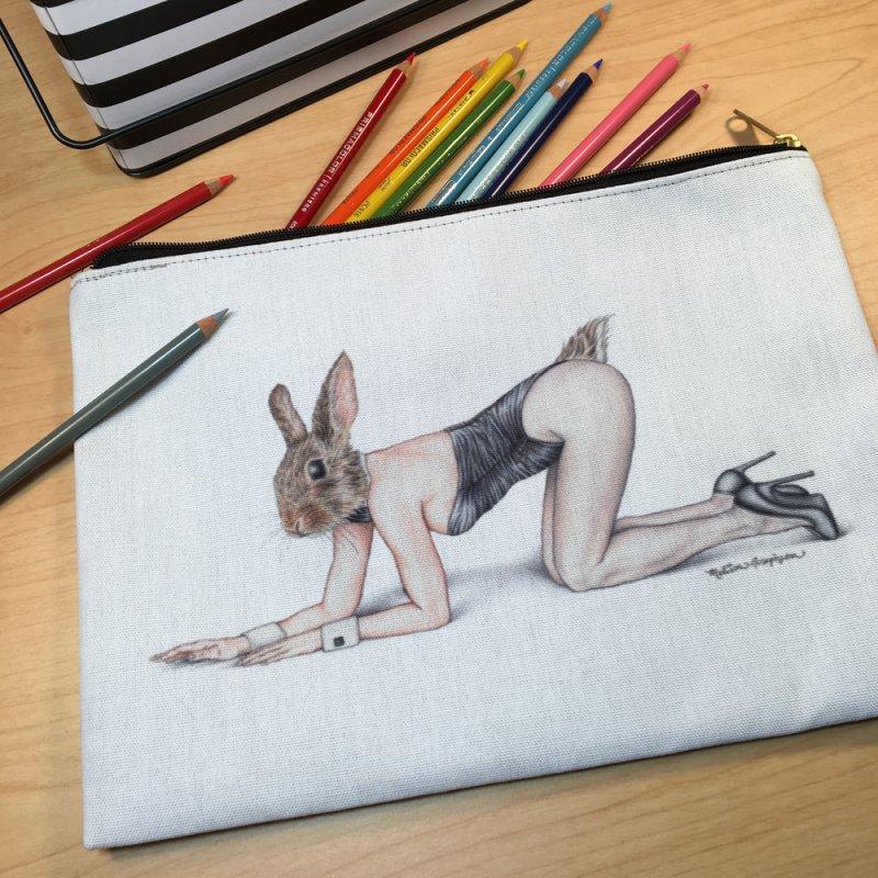 Gentlemen's Hare in Zip Pouch by MelJo JoJo's Artist Shop