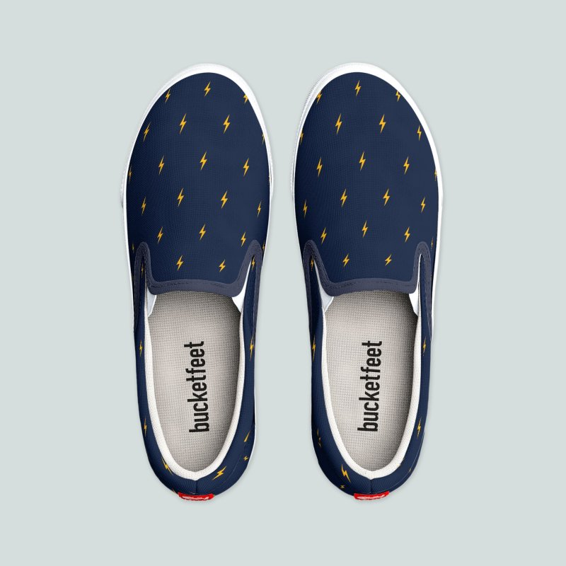 Thunderbolt Motif Pattern in Men's Slip-On Shoes by Mr Loco Motif