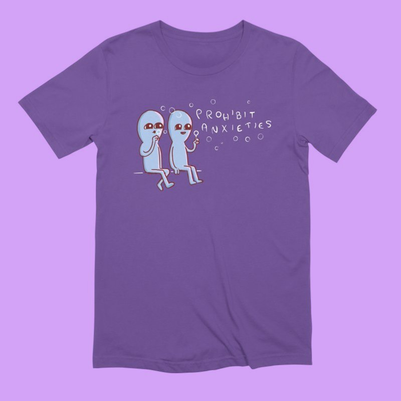 STRANGE PLANET SPECIAL PRODUCT: PROHIBIT ANXIETIES in Men's Extra Soft T-Shirt Purple by Nathan W Pyle