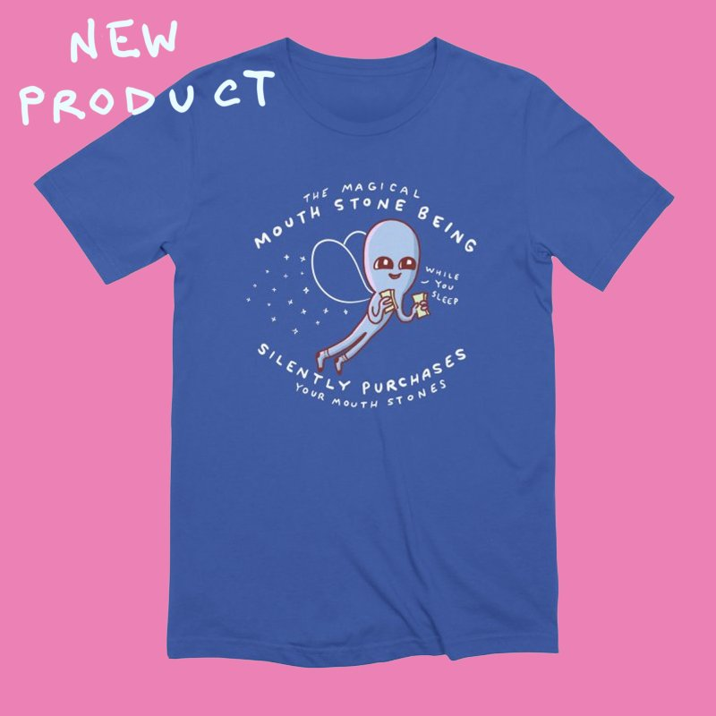 STRANGE PLANET SPECIAL PRODUCT: MAGICAL MOUTH STONE BEING in Men's Extra Soft T-Shirt Royal Blue by Nathan W Pyle