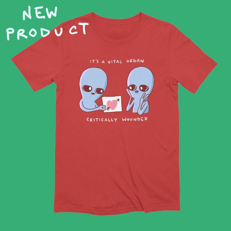 STRANGE PLANET SPECIAL PRODUCT: VITAL ORGAN in Men's Extra Soft T-Shirt Red by Nathan W Pyle