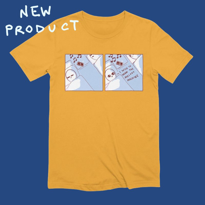STRANGE PLANET SPECIAL PRODUCT: MELODY MACHINE in Men's Extra Soft T-Shirt Gold by Nathan W Pyle