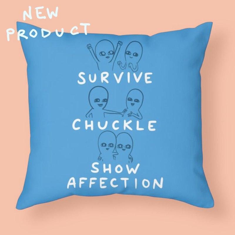 STRANGE PLANET SPECIAL PRODUCT: SURVIVE CHUCKLE SHOW AFFECTION CHARACTERs in Throw Pillow by Nathan W Pyle