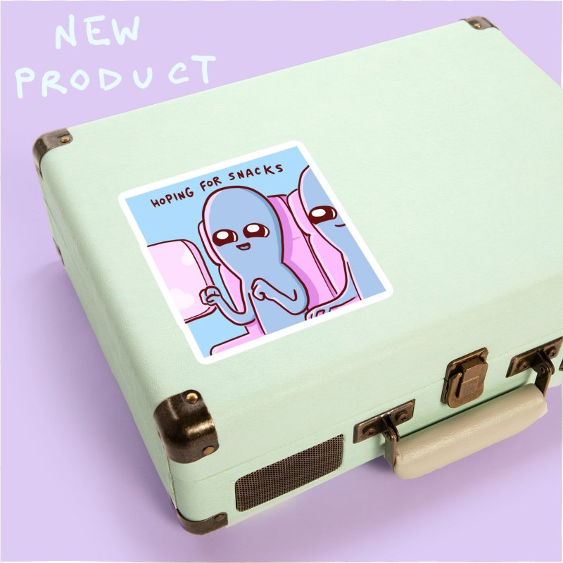 STRANGE PLANET SPECIAL PRODUCT: HOPING FOR SNACKS in White Sticker by Nathan W Pyle