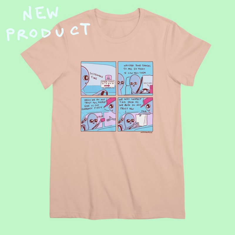 STRANGE PLANET: STEER-CLOSE WINDOW in Women's Premium T-Shirt Pale Pink by Nathan W Pyle