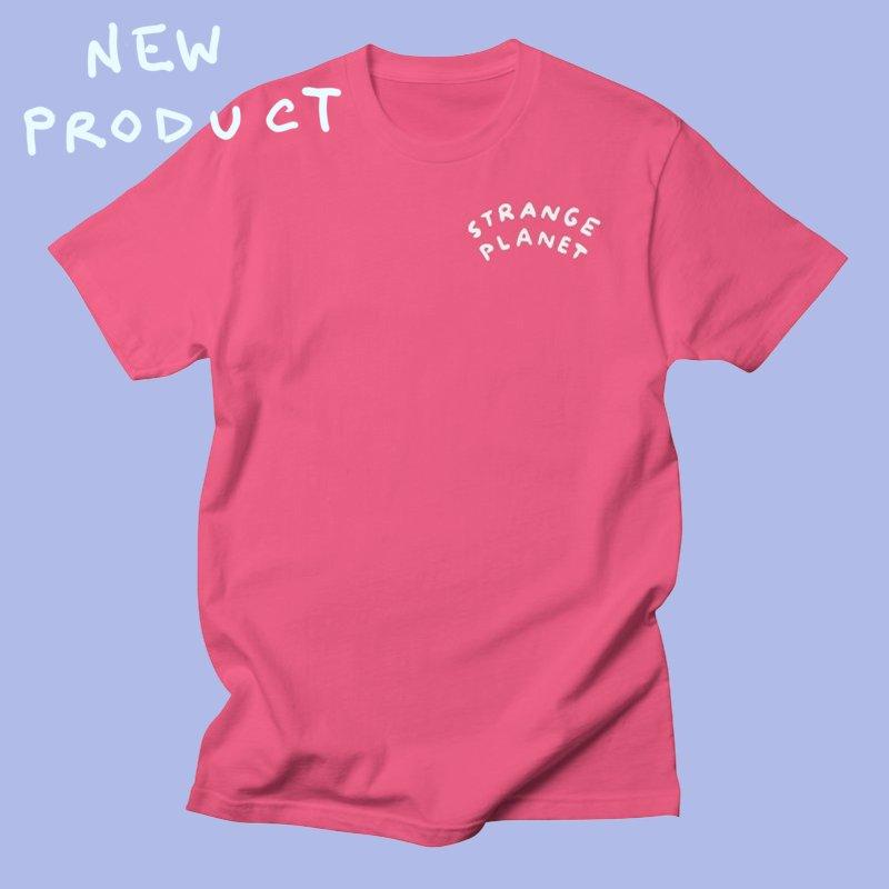 STRANGE PLANET: POCKET LOGO in Men's Regular T-Shirt Fuchsia by Nathan W Pyle