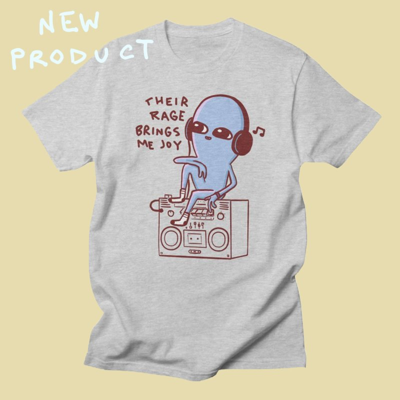 STRANGER PLANET SPECIAL PRODUCT: THEIR RAGE BRINGS ME JOY in Men's Regular T-Shirt Heather Grey by Nathan W Pyle
