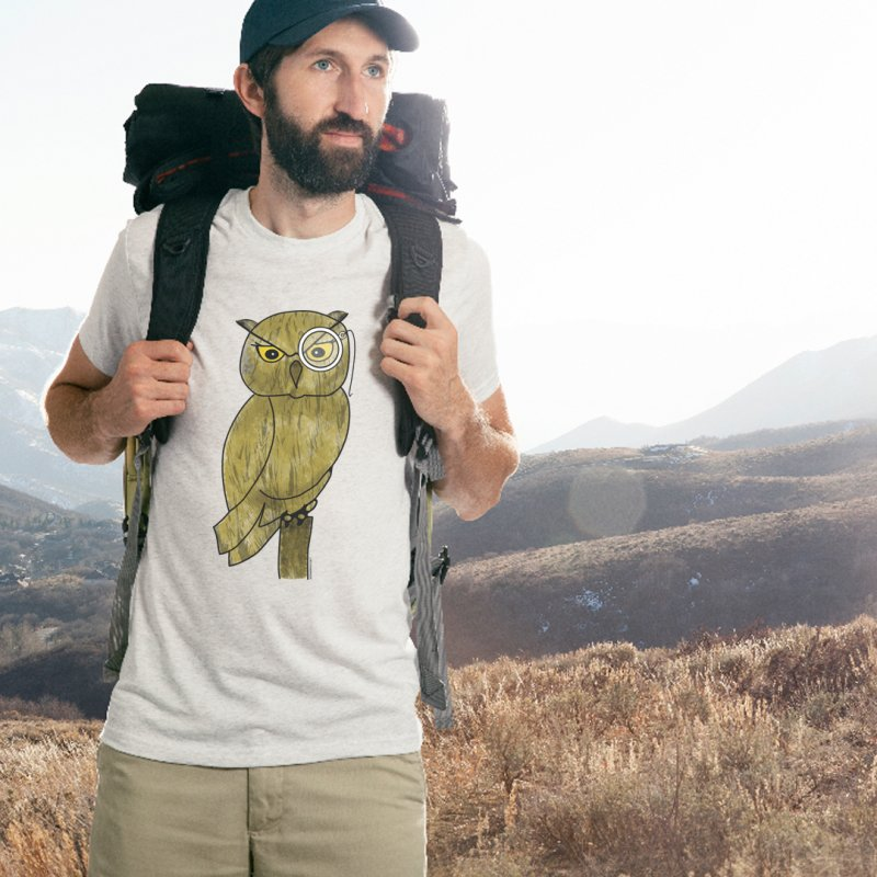 Owl w/ Monocle - Sir Hootington in Men's Extra Soft T-Shirt Stone by Natina Norton Designs