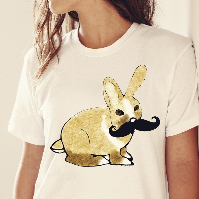 Cheeky Bunny in Women's Regular Unisex T-Shirt Asphalt by Natina Norton Designs