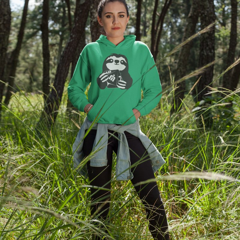 Never Idle - Jeff 2018 - Chest in Women's French Terry Pullover Hoody Heather Kelly by Never Idle