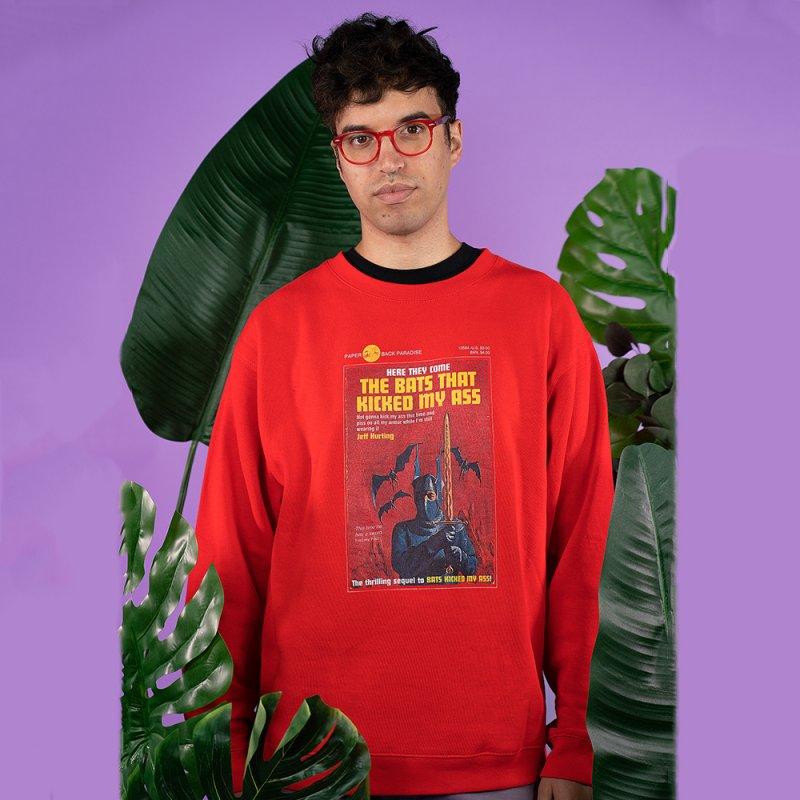 THE BATS THAT KICKED MY ASS in Men's Sponge Fleece Sweatshirt Red by Paperback Paradise