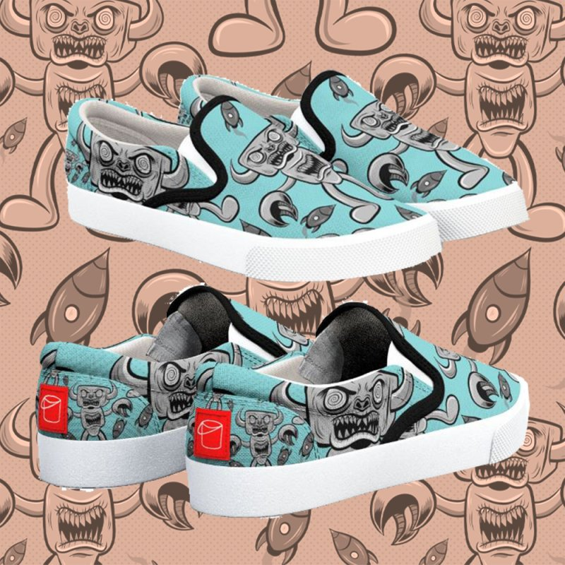 The Angry Android in Women's Slip-On Shoes by Pat Higgins Illustration