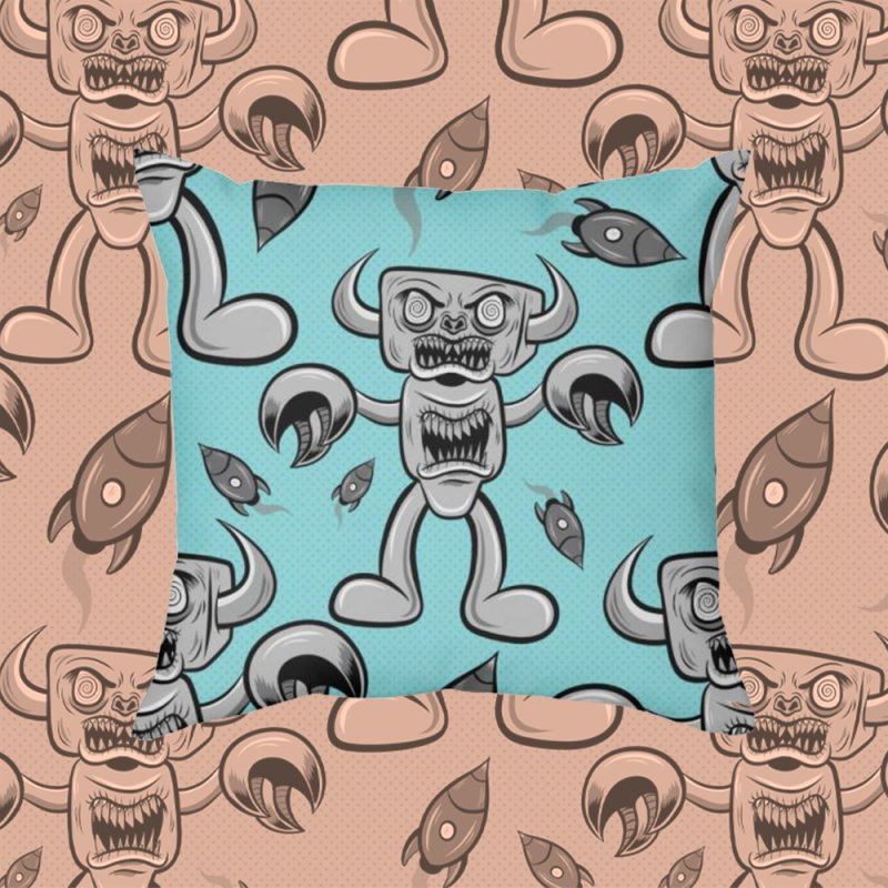 The Angry Android in Throw Pillow by Pat Higgins Illustration