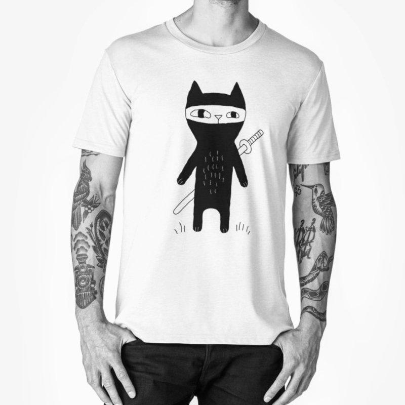 Ninja Cat in Men's Premium T-Shirt White by Ekaterina Zimodro's Artist Shop