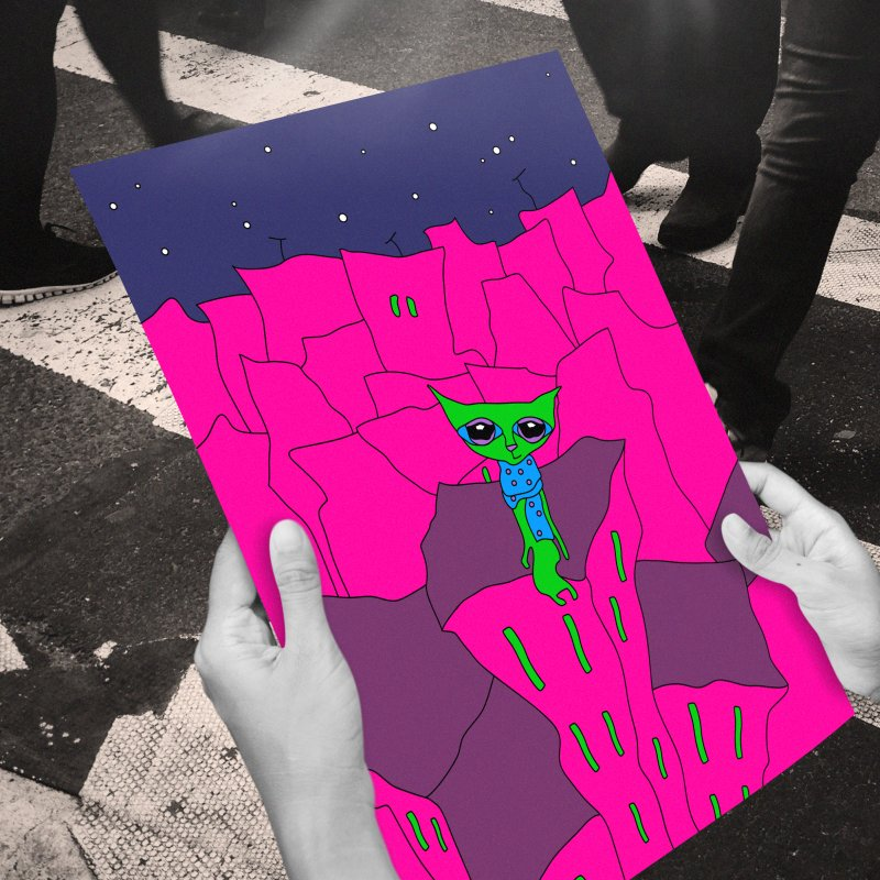 How To Psy In Megapolis in Framed Fine Art Print White by Ekaterina Zimodro's Artist Shop