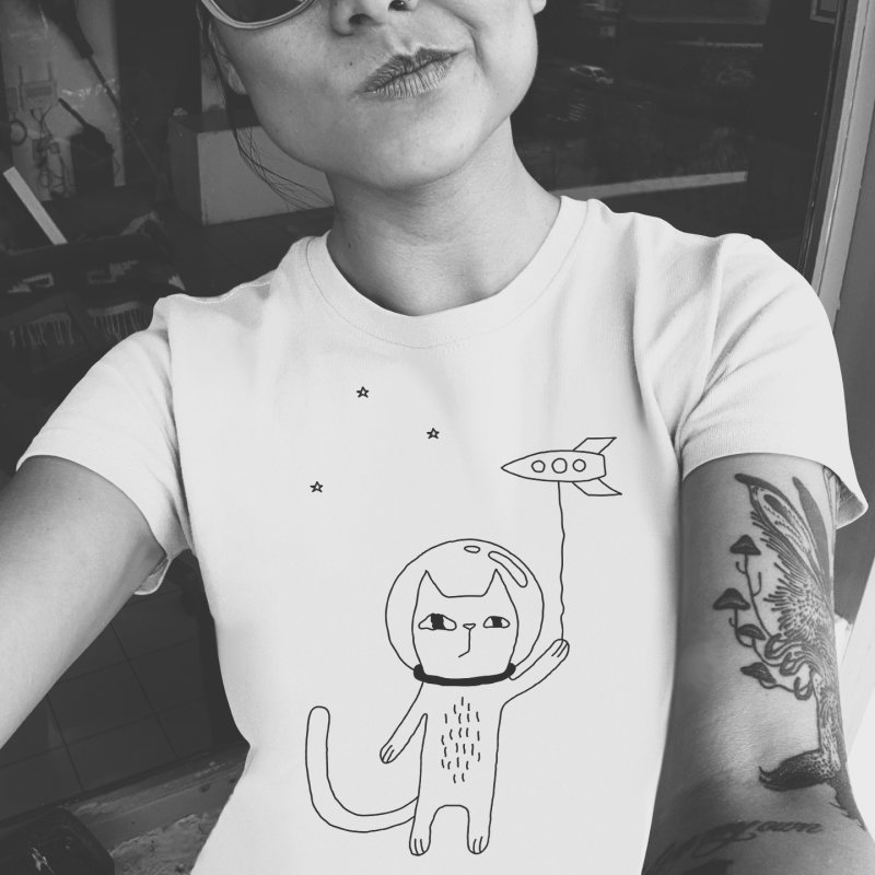 Space Cat in Women's Regular Unisex T-Shirt White by PENARULIT illustration