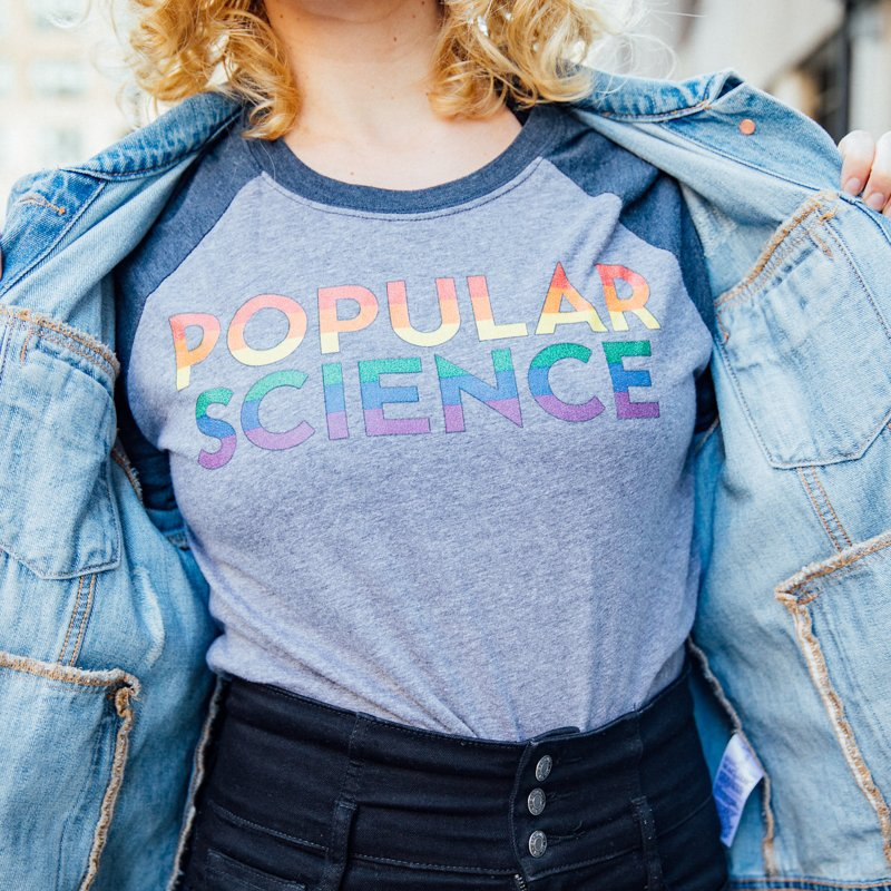 LIMITED EDITION: Popular Science Logo Tee - Pride in Men's Baseball Triblend Longsleeve T-Shirt Navy Sleeves by Popular Science Shop