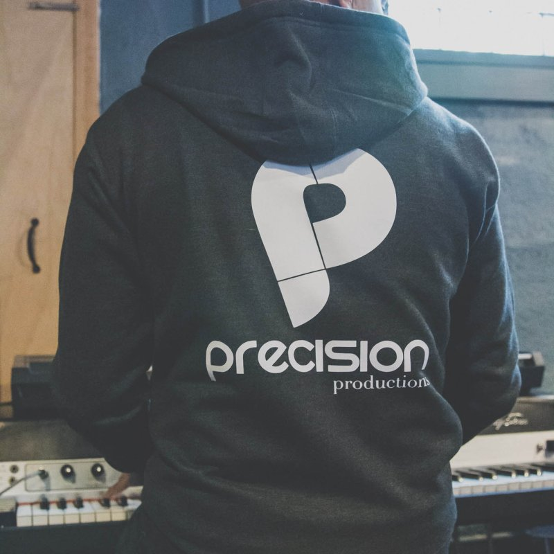 Precision P (white) in Men's French Terry Zip-Up Hoody Heather Graphite by Precision Productions Artiste Shop
