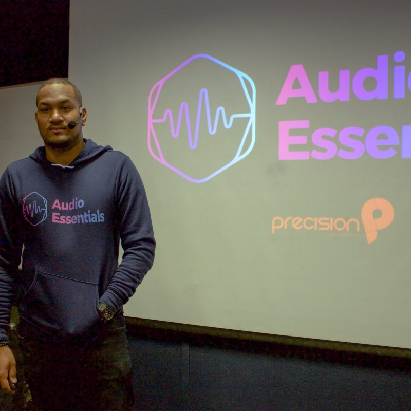 Audio Essentials Logo in Men's Sponge Fleece Zip-Up Hoody Navy by Precision Productions Artiste Shop