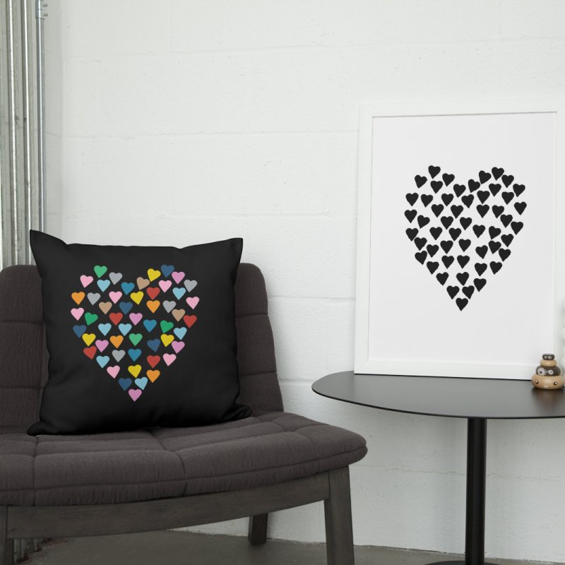 Distressed Hearts Heart B in Throw Pillow by Project M's Artist Shop