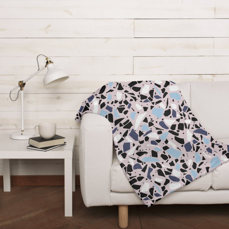 Terrazzo Blue Blush in Fleece Blanket Blanket by Project M's Artist Shop