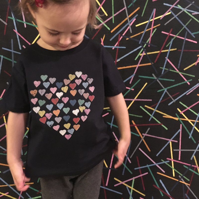 Distressed Hearts Heart B in Kids T-Shirt Navy by Project M's Artist Shop