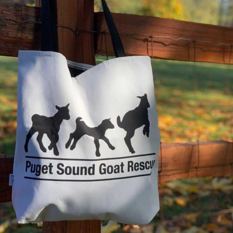 3 Baby Goats - Black in Tote Bag by pugetsoundgoatrescue's Artist Shop