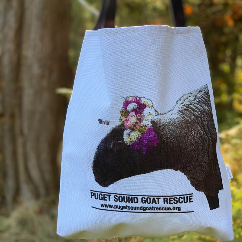 Olivia in Tote Bag by pugetsoundgoatrescue's Artist Shop