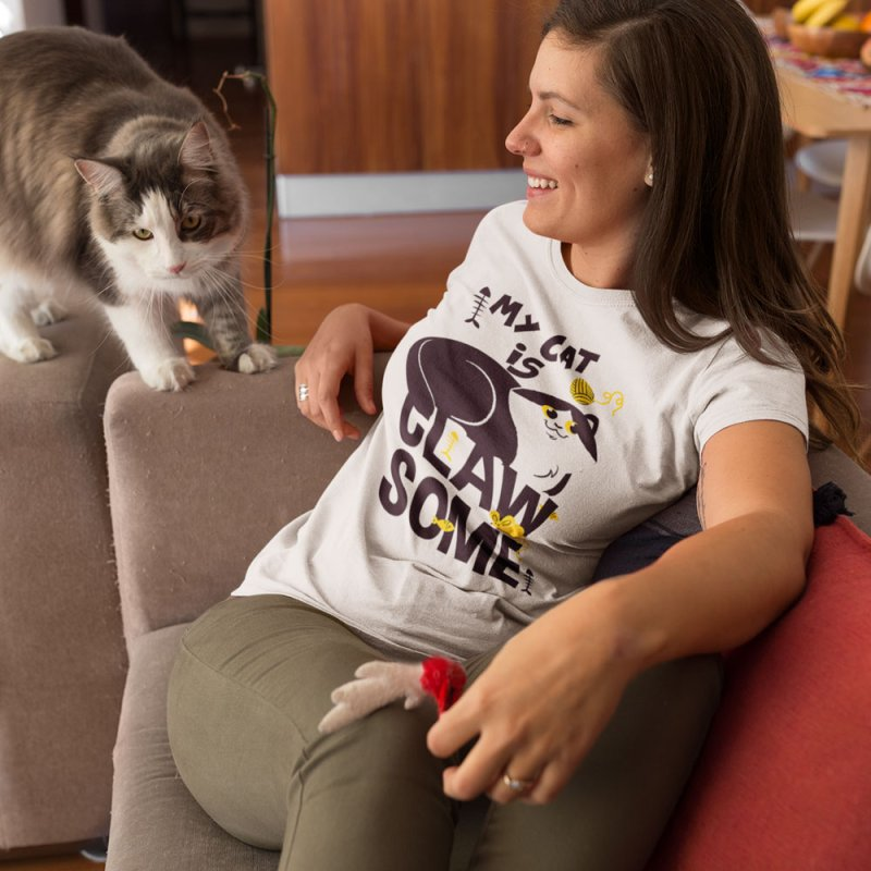 My Cat Is Clawsome in Women's Regular Unisex T-Shirt Stone by Purrform