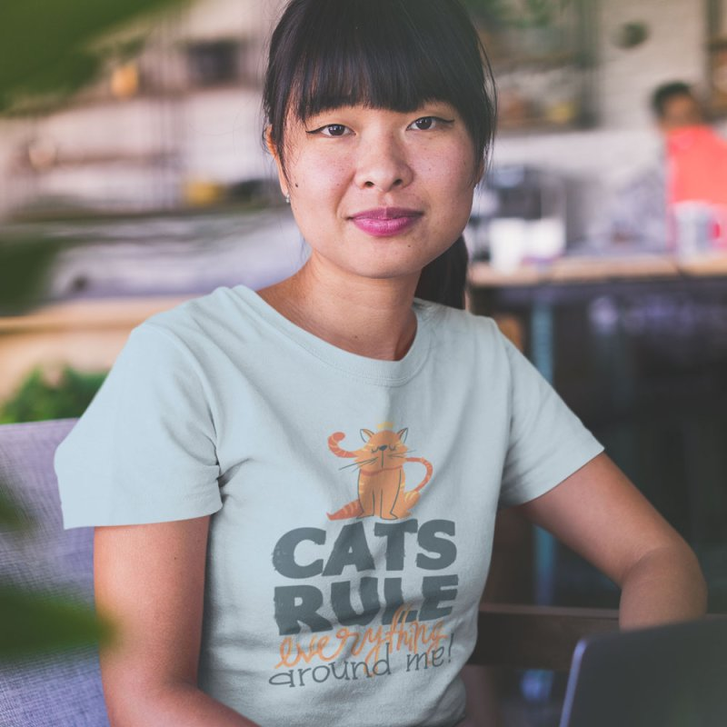 Cats Rule Everything Around Me in Women's Fitted T-Shirt Baby Blue by Purrform