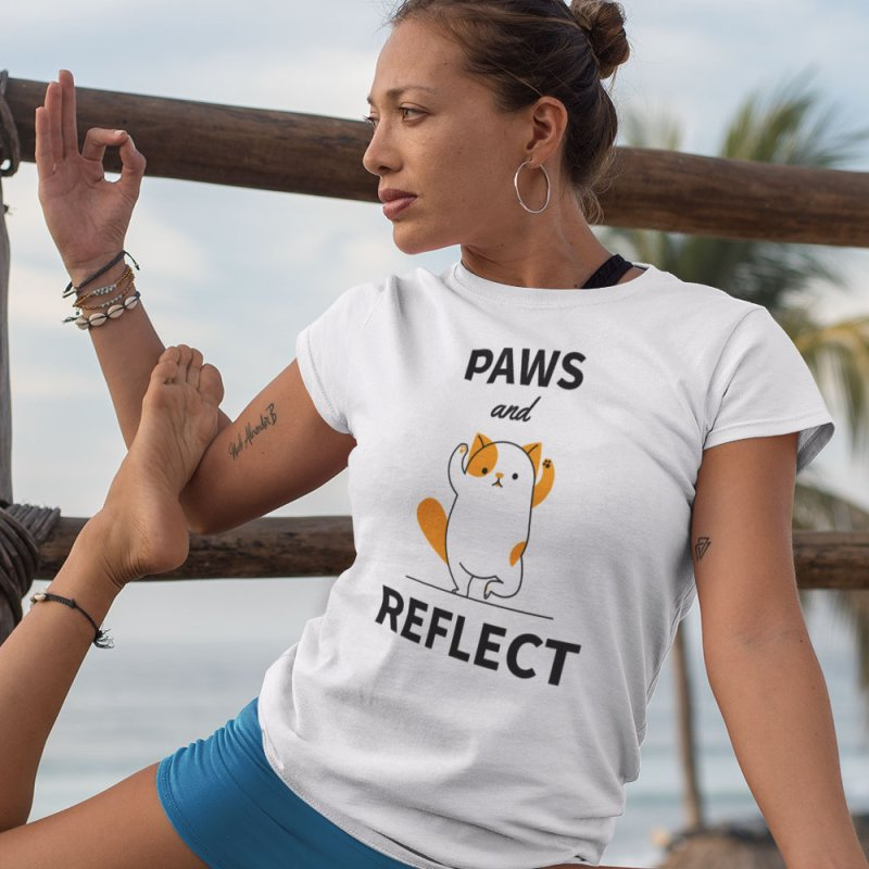 Paws And Reflect in Women's Extra Soft T-Shirt White by Purrform
