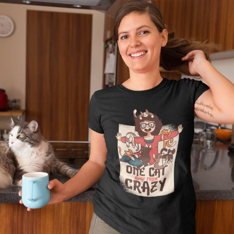 One Cat Away From Crazy in Women's Extra Soft T-Shirt Black by Purrform