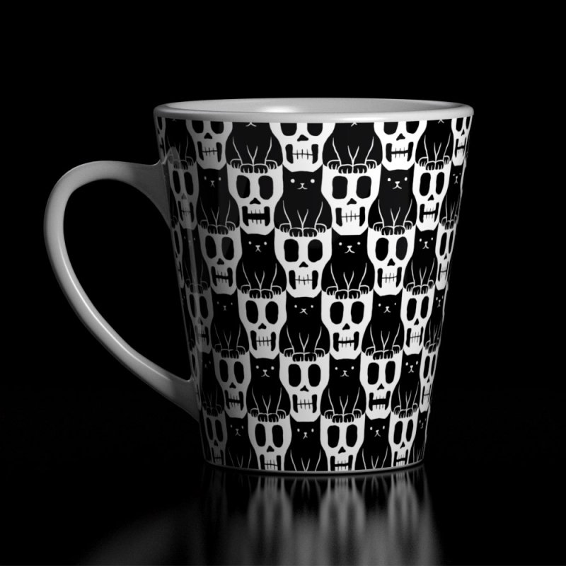 Skulls & Cats in Latte Mug by ramos's Artist Shop