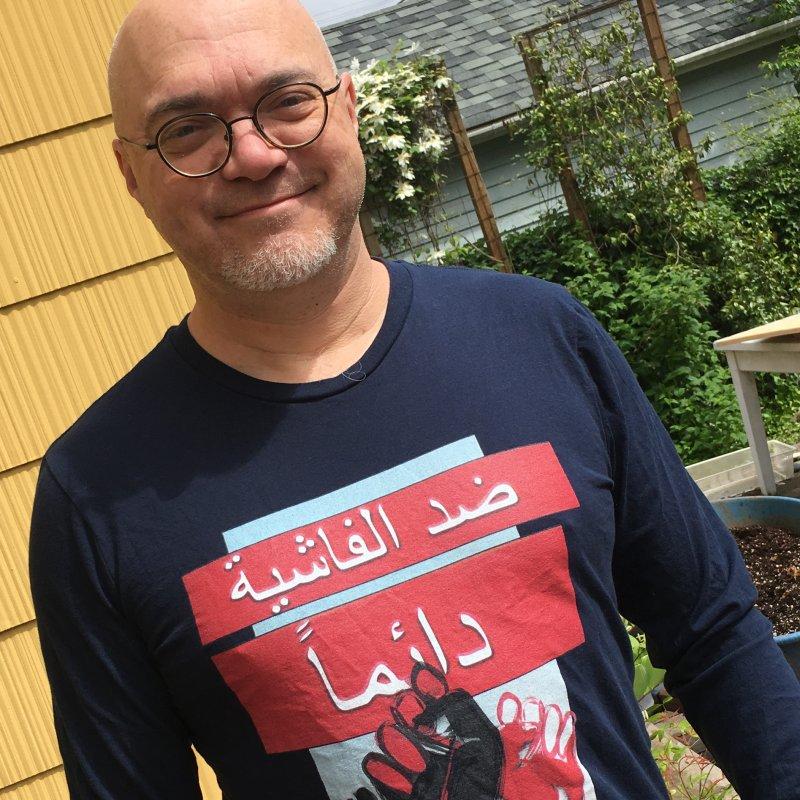 Always Antifascist BW Arabic in Men's Regular Longsleeve T-Shirt Midnight by Revolution Art Offensive