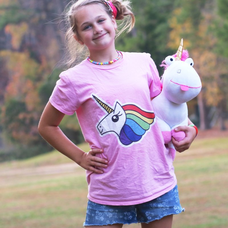 Team Rainbow Unicorn in Women's Unisex T-Shirt Light Pink by Sketchbook B