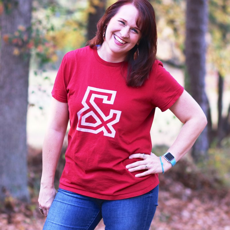 Ampersand in Women's Unisex T-Shirt Red by Sketchbook B