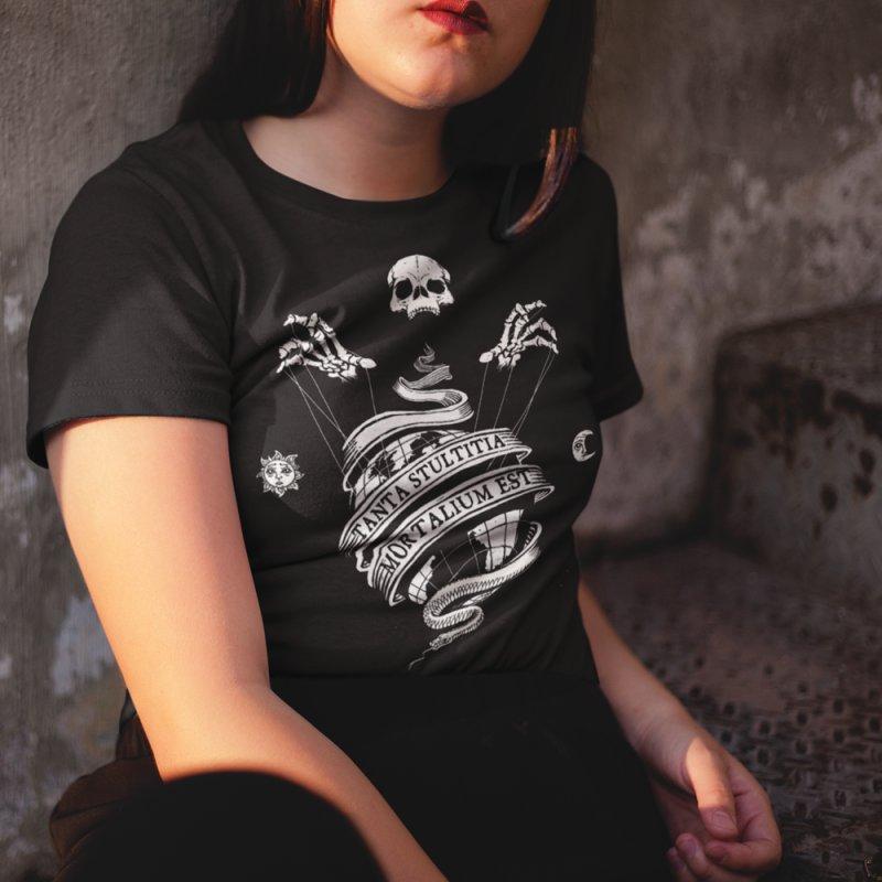 Foolishness of Mortals in Women's Regular Unisex T-Shirt Black by Skulls Society