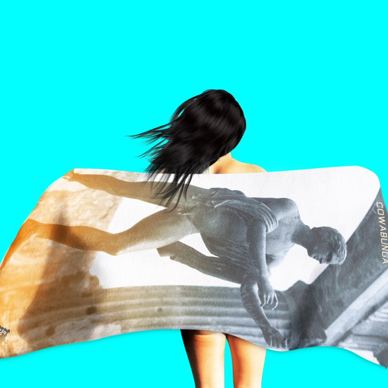 Pantsless Pompeii in Beach Towel by Slap Happy Ultd Emporium