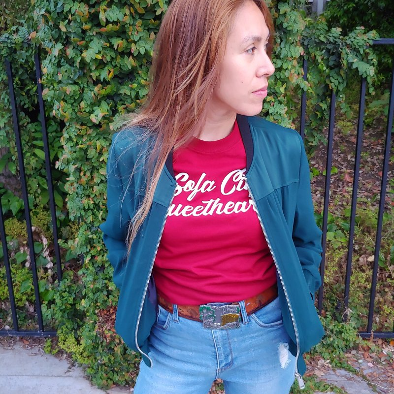 "Sofa City ""Summer Camp"" (White Font) in Women's Regular Unisex T-Shirt Scarlet Red by Sofa City Sweetheart Discount Superstore"
