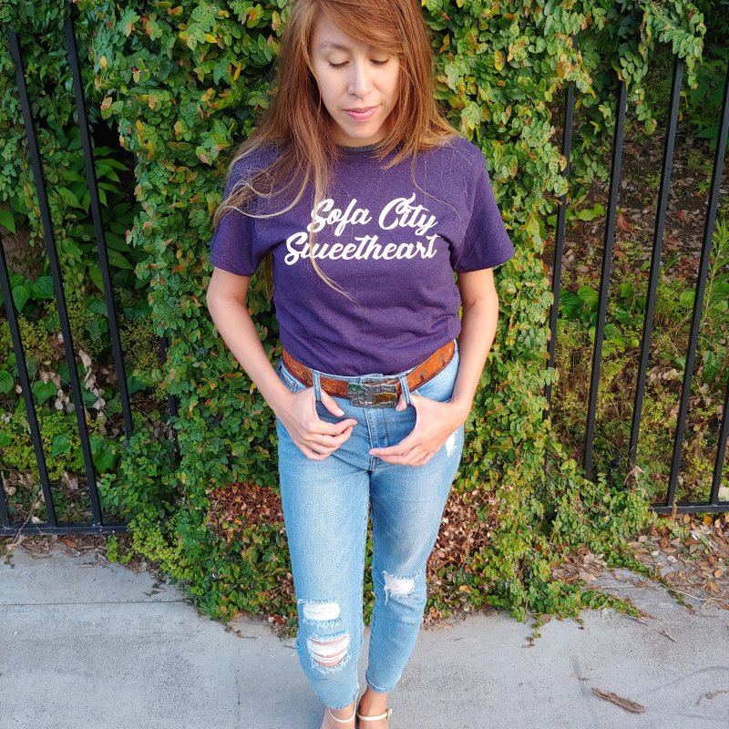 "Sofa City ""Summer Camp"" (White Font) in Women's Triblend T-Shirt Tri-Purple by Sofa City Sweetheart Discount Superstore"