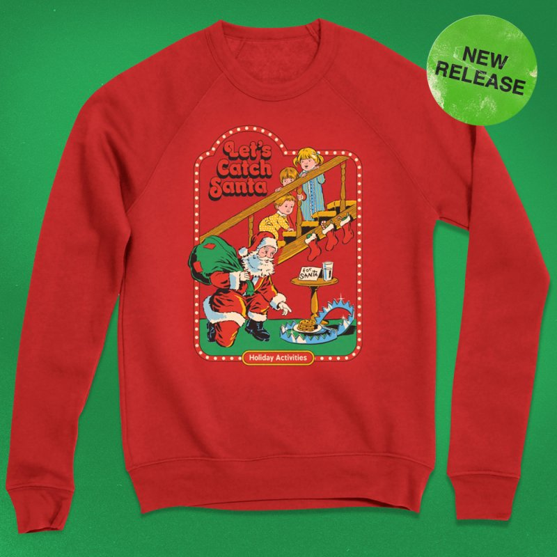 Let's Catch Santa in Men's Extra Soft T-Shirt Red by Steven Rhodes