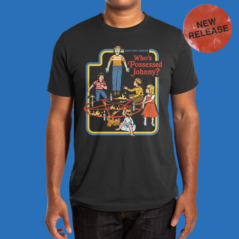 Who's Possessed Johnny? in Men's Regular T-Shirt Black by Steven Rhodes