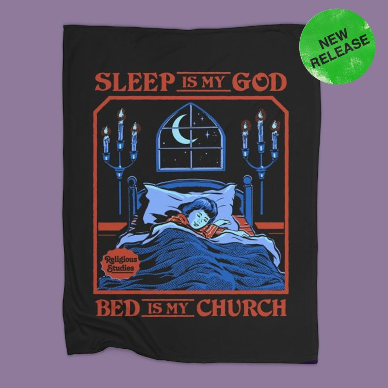 Sleep is my God in Fleece Blanket Blanket by Steven Rhodes