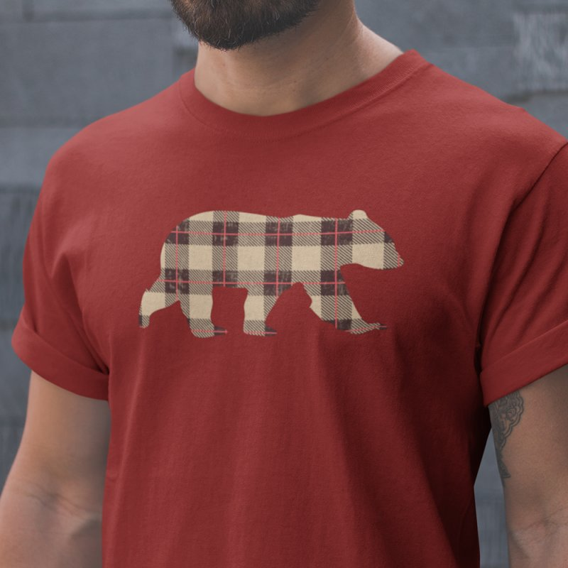 Furbeary Bear in Men's Heavyweight T-Shirt Red by The Bearly Brand