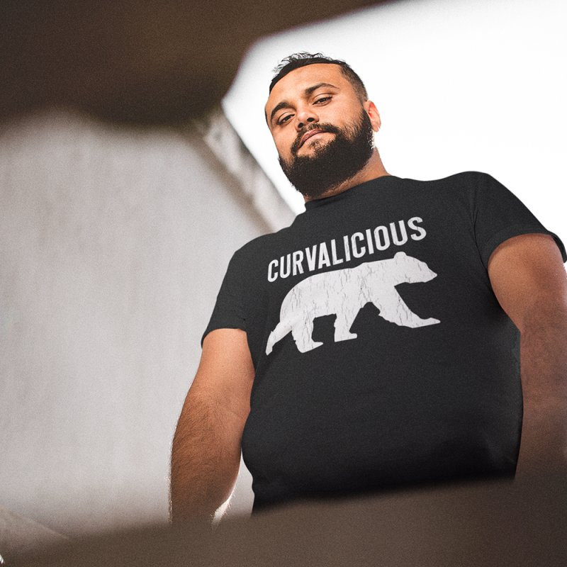 Curvalicious Bear in Men's Heavyweight T-Shirt Black by The Bearly Brand