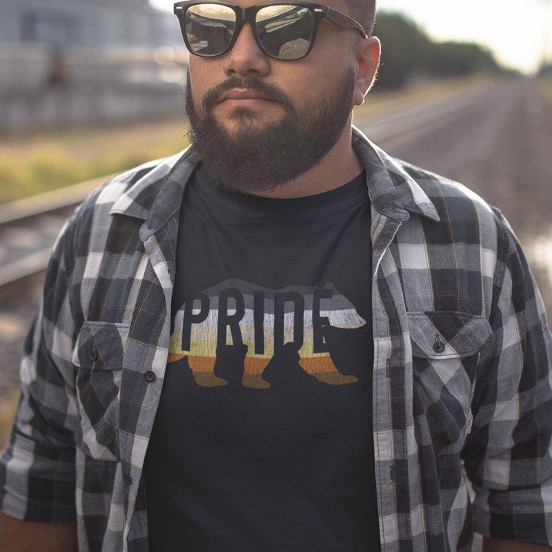 Bear Pride Bear in Men's Heavyweight T-Shirt Black by The Bearly Brand