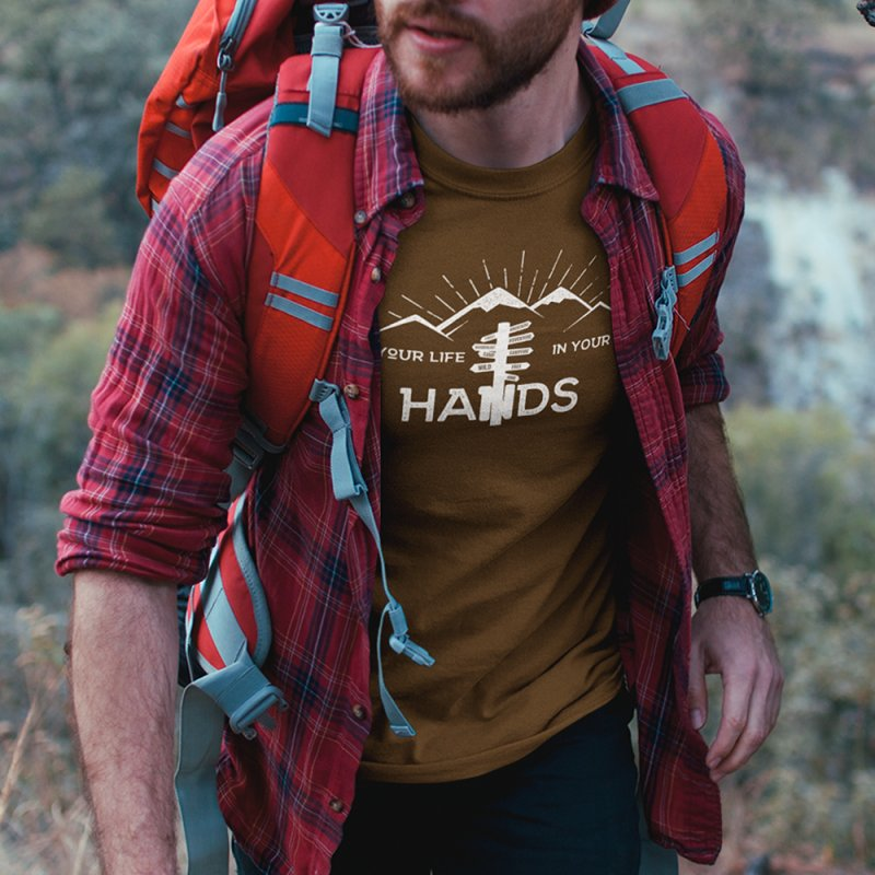 Your Life In Your Hands in Men's T-Shirt Olive by The Bearly Brand