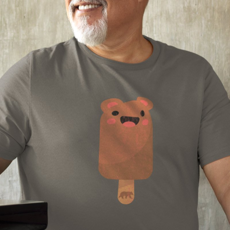 Bear Popsicle in Men's Heavyweight T-Shirt Heather Grey by The Bearly Brand