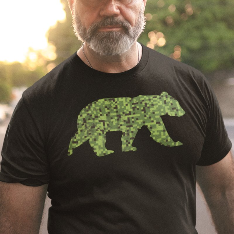 8bit Camouflage Bear in Men's Heavyweight T-Shirt Black by The Bearly Brand