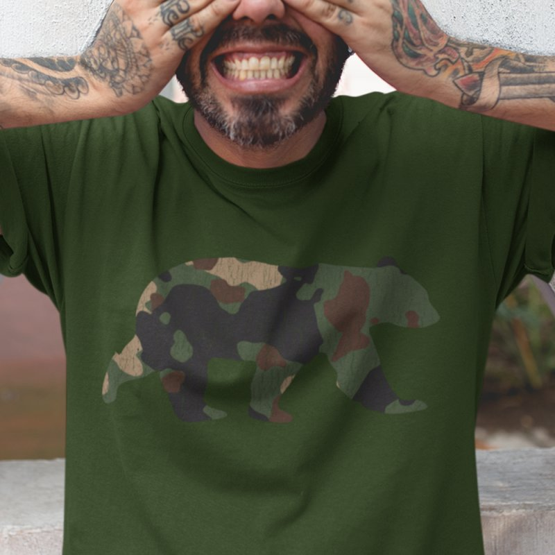 Camouflage Bear in Men's Regular T-Shirt Olive by The Bearly Brand